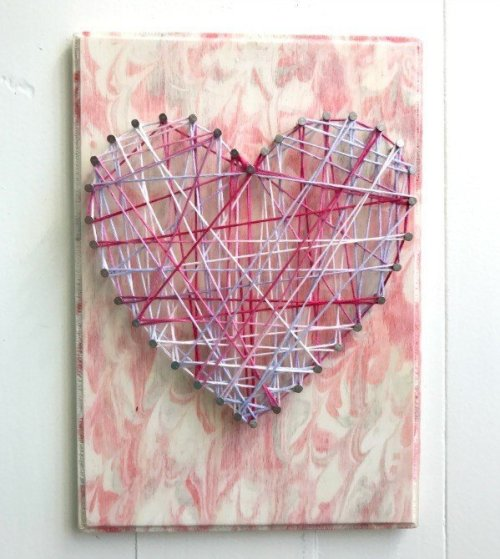 Kids Valentines Art Wood Crafts - string art