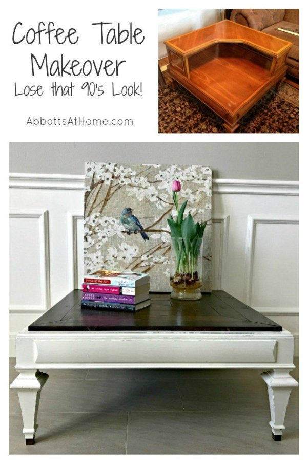 Give that boring table a pretty Farmhouse Look with this wood mosaic DIY Table Top Makeover. #farmhouse #coffeetable