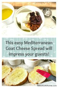 This easy Mediterranean Goat Cheese Spread will impress the guests at your next dinner party or family gathering!