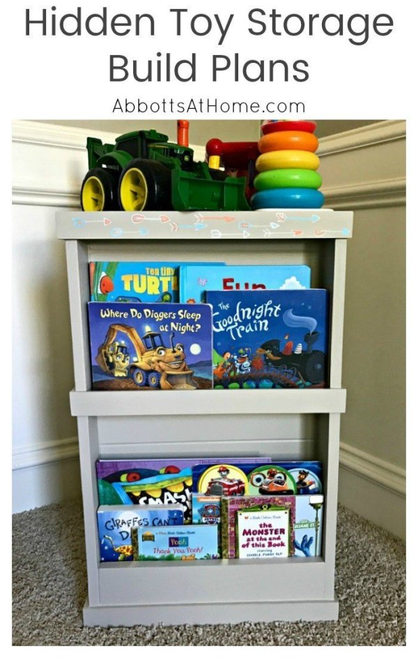 DIY Hidden Toy Storage Steps. Toys on one side, books on the other. Would be great for hiding craft supplies, magazines, or any mess. #toystorage