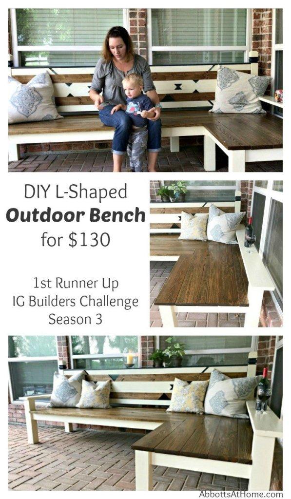 l shaped diy outdoor bench for ig builders challenge 3. Black Bedroom Furniture Sets. Home Design Ideas