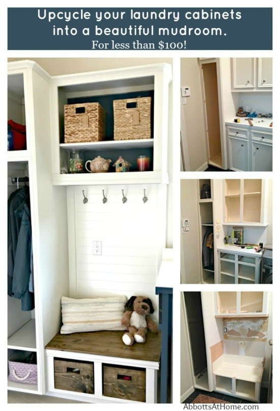 Looking for DIY Mudroom Ideas? You can upcycle your old cabinets into a beautiful and affordable DIY Laundry and Mudroom Combo. This cabinet update was less than $100. And the mudroom bench, coat, and shoe storage makes this space so much more functional!