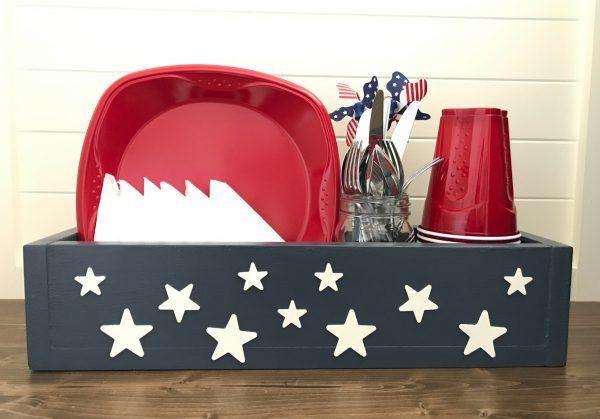 Make an Easy Patriotic Table DIY Utensil Caddy, just $7