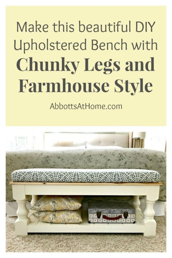 Farmhouse Style DIY Upholstered Bench Plan with Tongue & Groove shelf. Makes a great end of bed bench, dining table bench, living room coffee table or entry bench. #bench #diy #farmhouse