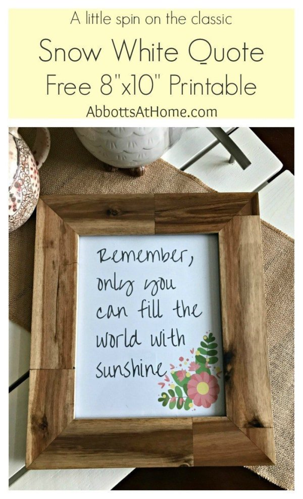 A little spin on the classic Snow White Quote Printable. This 8x10 art printable is free to download and print.