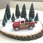 Quick & Easy Red Truck DIY Christmas Centerpiece Idea. Christmas or Holiday table centerpiece or Vignette. #RedTruck #RedTruckDecor #ChristmasDIY #ChristmasCenterpiece