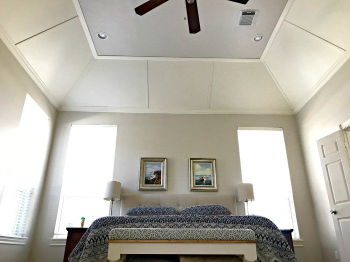 DIY Tray Ceiling Molding and Paneling Feature