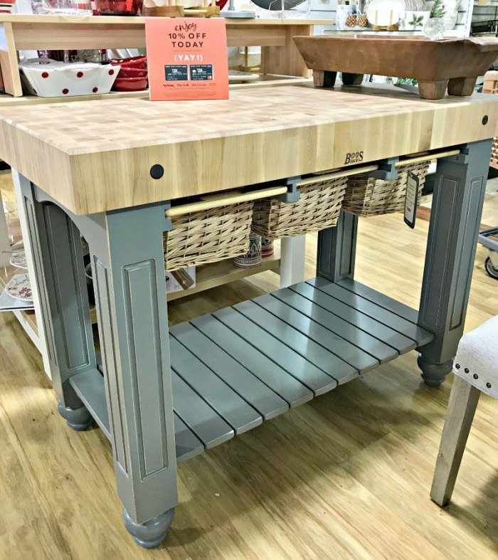 Grey & Maple Butcher Block Island with shelf. Interior and Furniture Design Inspiration Pictures from Model Homes and Local Stores.