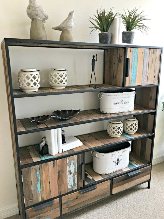 Chippy Paint Rustic Living Room Bookshelf Idea. Interior and Furniture Design Inspiration Pictures from Model Homes and Local Stores.
