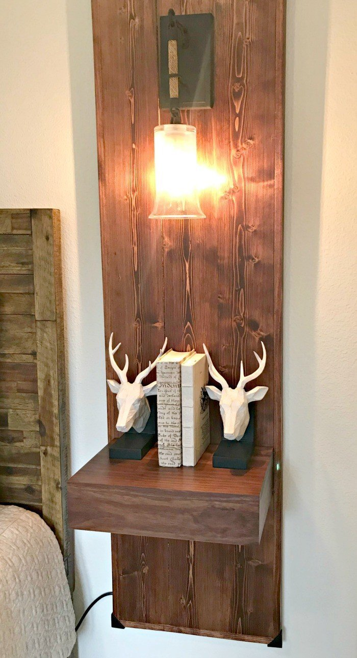 Wood Wall Mounted Nightstand and light Idea. Interior and Furniture Design Inspiration Pictures from Model Homes and Local Stores.
