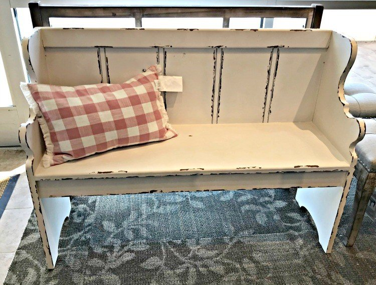 White Distressed Farmhouse Entry Bench with Carved Arms. This months furniture design ideas and inspiration are partly my own DIY builds and partly great pieces I found at Home Goods and Kirklands. I took these pictures to keep track of nice designs I might want to inspire a future build. Today I'm sharing these furniture design ideas with you!