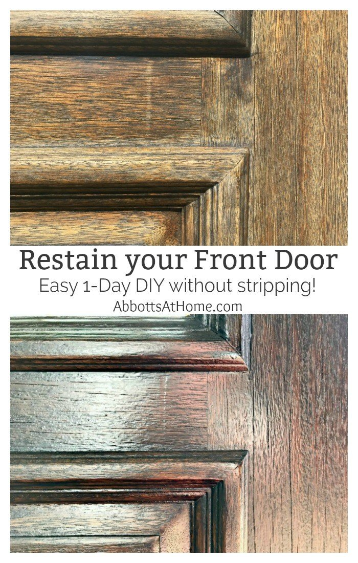 Quick U0026 Easy DIY For How To Restain A Door Without Stripping Off The Old  Wood