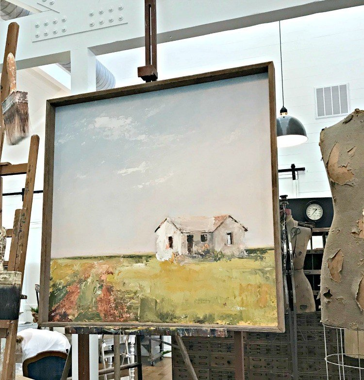 Mary Gregory Canvas Art - Farmhouse in a Field. The Spring and Fall Round Top Texas Antiques and Flea Markets are great! BUT you can find Fun, Art & Furniture Shopping in Round Top, Texas year round, guys! Check out photos from the shops in town. #RoundTop #TexasTravel #AbbottsAtHome