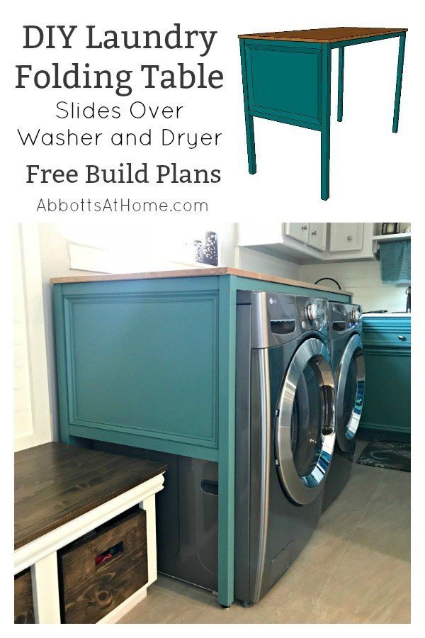 Free Build Plans for this Over Washer and Dryer DIY Laundry Table. This simple build hides those ugly machines, adds extra style and organization. And works as a Laundry Folding table too! #LaundryTable #LaundryFoldingTable #DIYFurniture #LaundryRoomIdeas #AbbottsAtHome