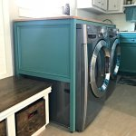 Free Plans for this DIY Laundry Table Over Washer and Dryer. This simple build hides those ugly machines, adds extra style and organization. And works as a Laundry Folding table too! #LaundryTable #LaundryFoldingTable #DIYFurniture #LaundryRoomIdeas #AbbottsAtHome