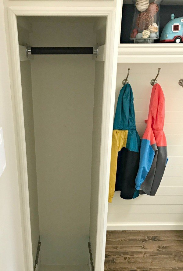 White Open Cabinet Used For Coat Storage. Easy DIY Open Cabinet Makeover  With Plywood Panels