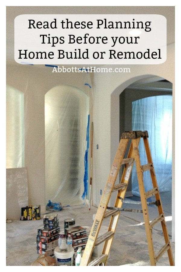 This girl has built a new home, flipped some, and has spent years remodeling her home. This is her list of over 80 tips and things to think about before building or remodeling. Tips for Building a New Home #AbbottsAtHome #Building #Remodeling #CustomHome