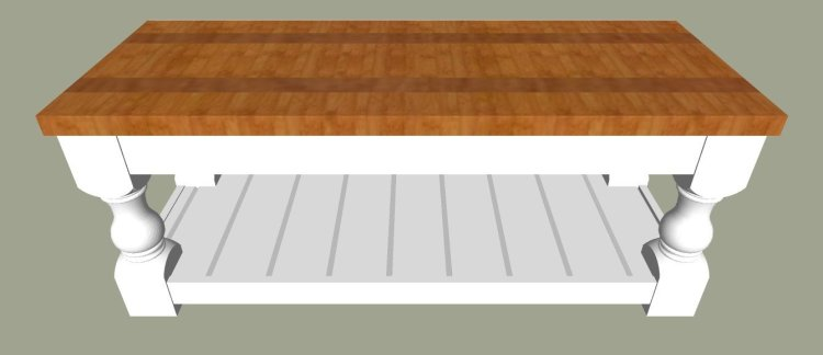 "2"" Thick Farmhouse Plank Top. The printable build plans for my popular Modern Farmhouse Bench are now available. Includes 5 beautiful wood top options to turn it into a pretty Farmhouse coffee table instead. Get the DIY Farmhouse Coffee Table Plans today. #AbbottsAtHome #Bench #CoffeeTable #DIYFurniture #FurniturePlans"