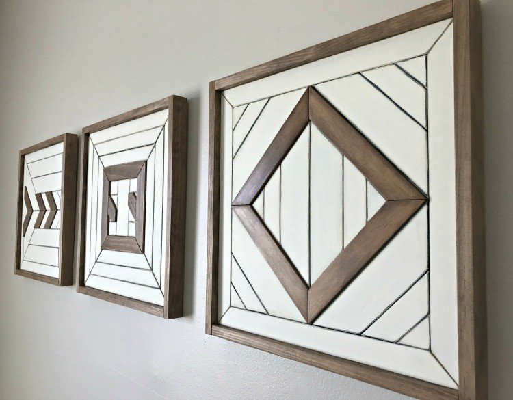Give your Tribal, Boho, or geometric Scrap Wood Wall Art a Color Makeover with these easy steps. Plus, find out how I built this set of fun wall art with the scraps from recent builds. I love this wall art update, guys! #AbbottsAtHome #WallArt #ScrapWood #WoodArt