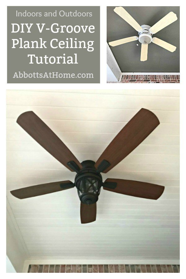 An easy to understand ceiling wood plank tutorial. The before and after pictures on this ceiling are beautiful. I want to try this! #AbbottsAtHome #DIYIdeas #Porch #Ceiling
