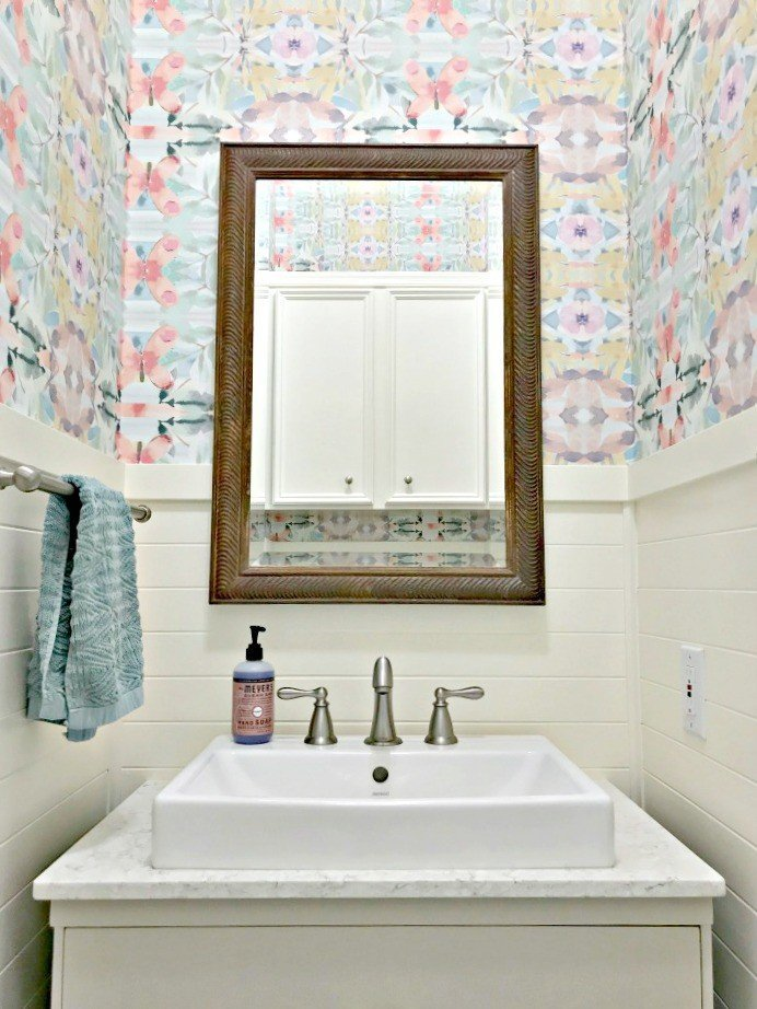 Colorful Small Modern Farmhouse Powder Room
