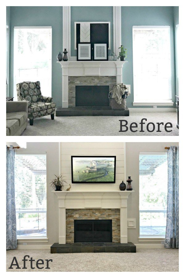 This home blends traditional style and the modern farmhouse look in a light, bright, and cozy way. I love what she is doing with this Farmhouse meets Traditional Living Room Makeover! #AbbottsAtHome #LivingRoomMakeover #FireplaceIdeas #LivingRoomIdeas #ShiplapIdeas #TVOverFireplace