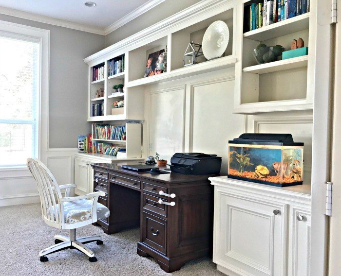 Here's a peek at the rooms I've never really shown you. And, the story behind why I haven't done their room reveals yet. A couple just need a few finishing touches. Like our home office. But, they're all full of Traditional Home Room Makeover Ideas. #AbbottsAtHome #OfficeDesign #Shelfie #BookshelfIdeas #FarmhouseStyle #TraditionalHome #OfficeIdeas