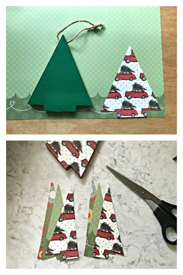 3D Tree Ornament. Need some new ideas for this years Christmas craft? I've got 12 fun and easy handmade Christmas Ornament Ideas for you! Make 3D scrapbook paper trees, pom pom trees, star string art, unicorn stars, and more. #AbbottsAtHome #Handmade #ChristmasCrafts #ChristmasIdeas #ChristmasOrnaments