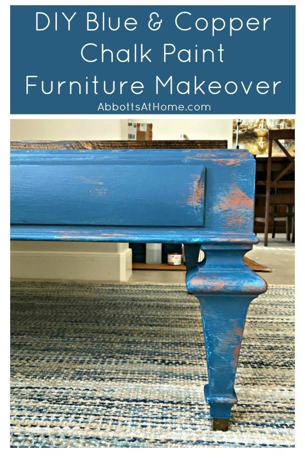 Here's that Blue and Copper Chalk Paint DIY I want to try! With DIY Video and painting tips. Painted with Magnolia Homes by Kilz Signature and Copper Chalk Paint. #AbbottsAtHome #ChalkPaint #FurnitureMakeover #PatinaPaint