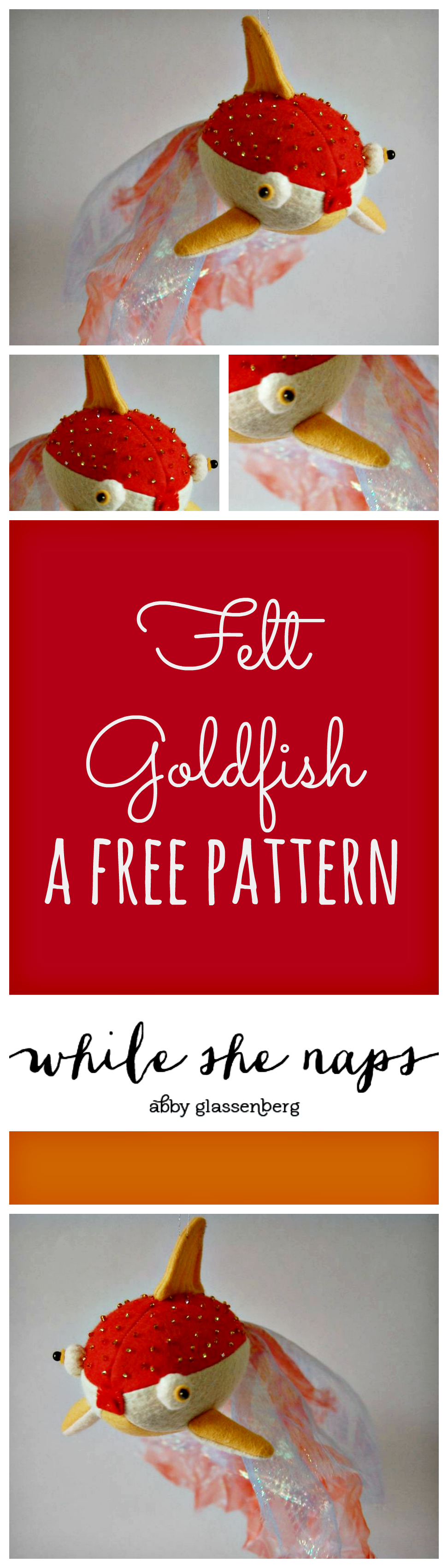 A free pattern for a felt Goldfish