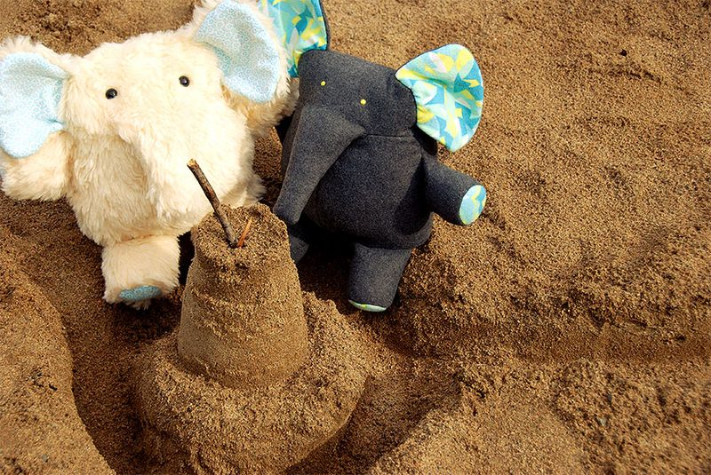 Elephants in a sandbox