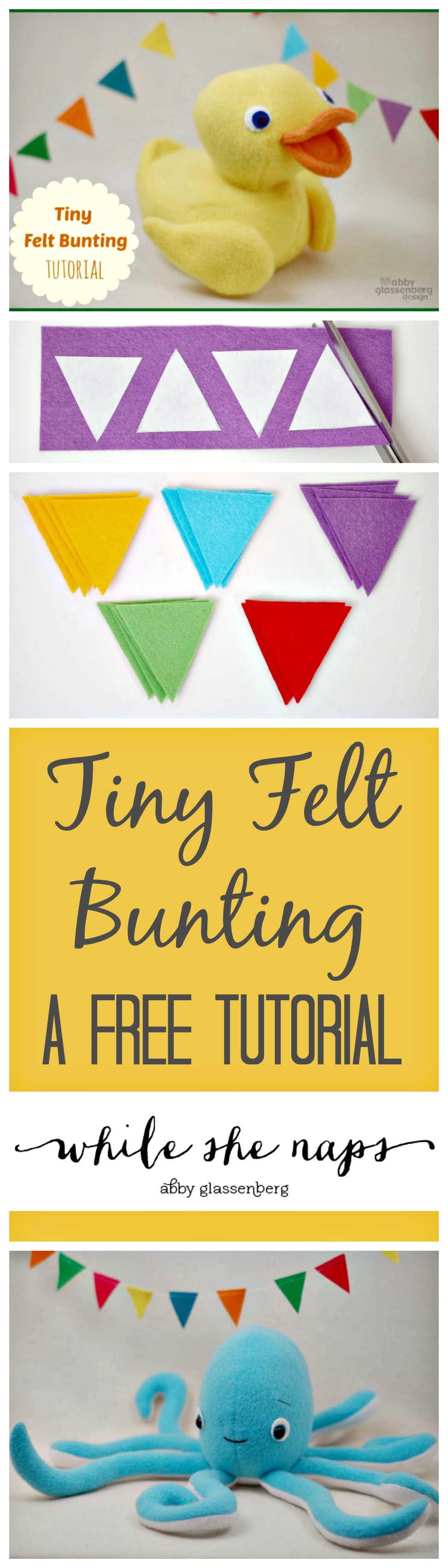 A free tutorial for Tiny Felt Bunting.