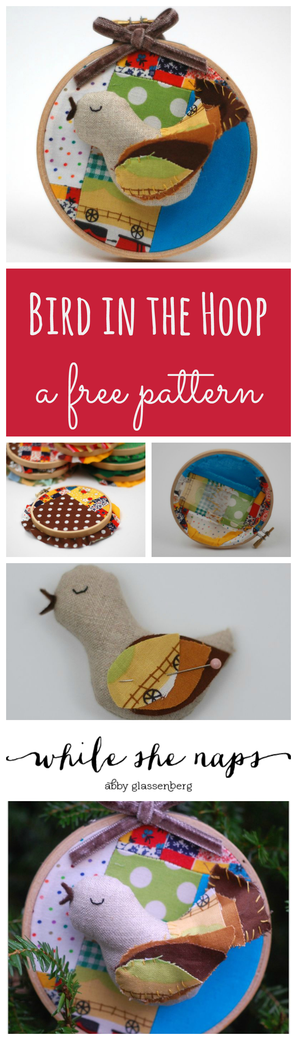 A free pattern for a Bird in the Hoop Ornament