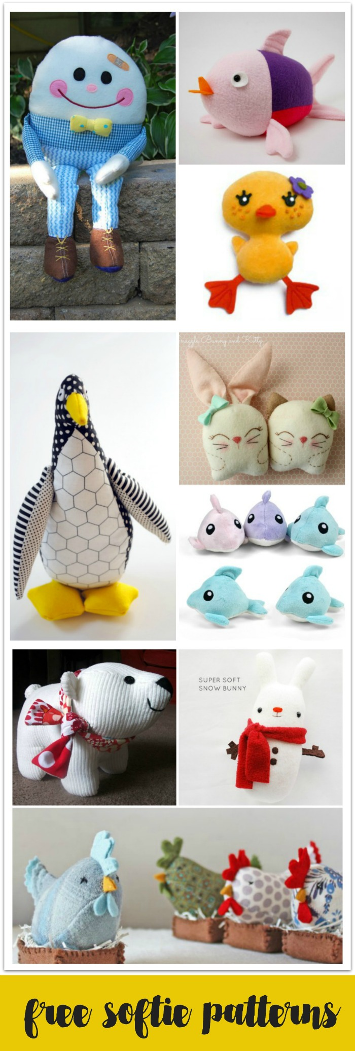 These softie patterns are easy to sew and are all free!