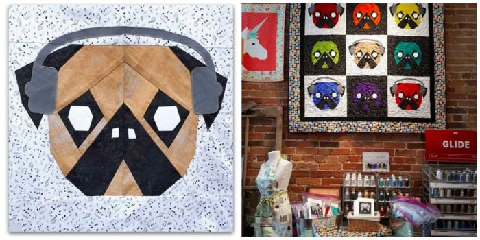 Pug quilt and block