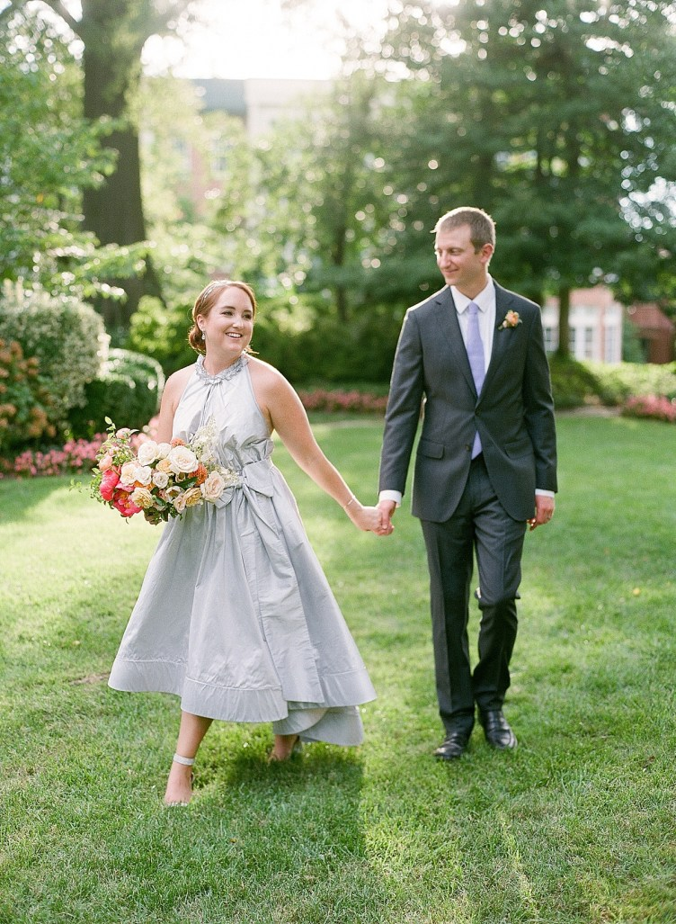 Silver high low wedding dress| DC microwedding at Meridian House | Abby Grace Photography