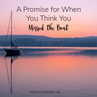 A Promise for When You Think You Missed the Boat