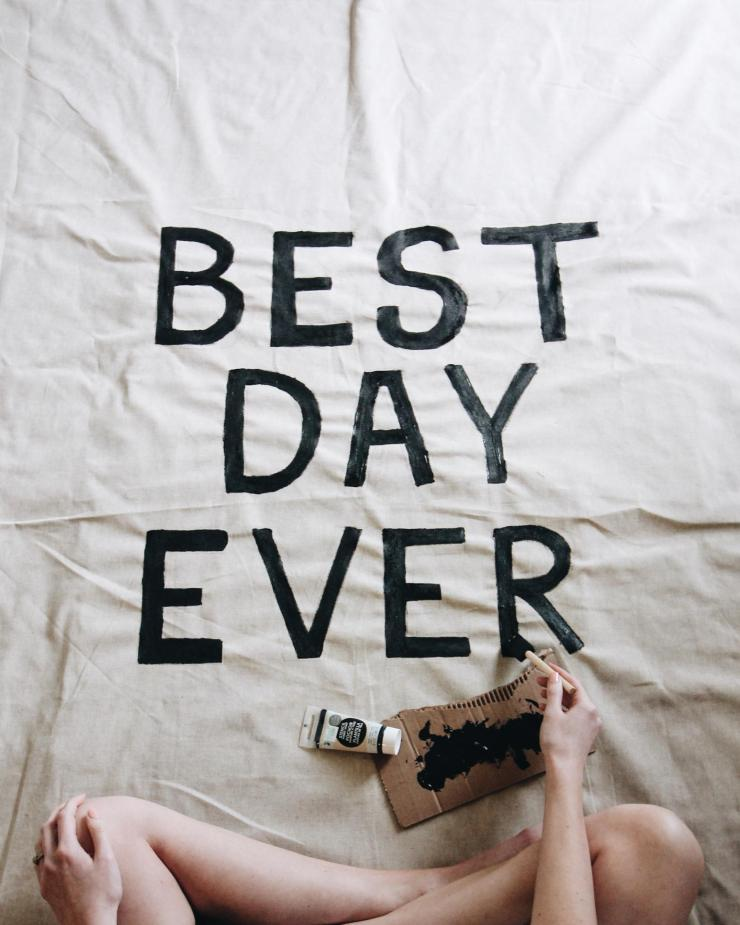 best day ever wedding tapestry sign