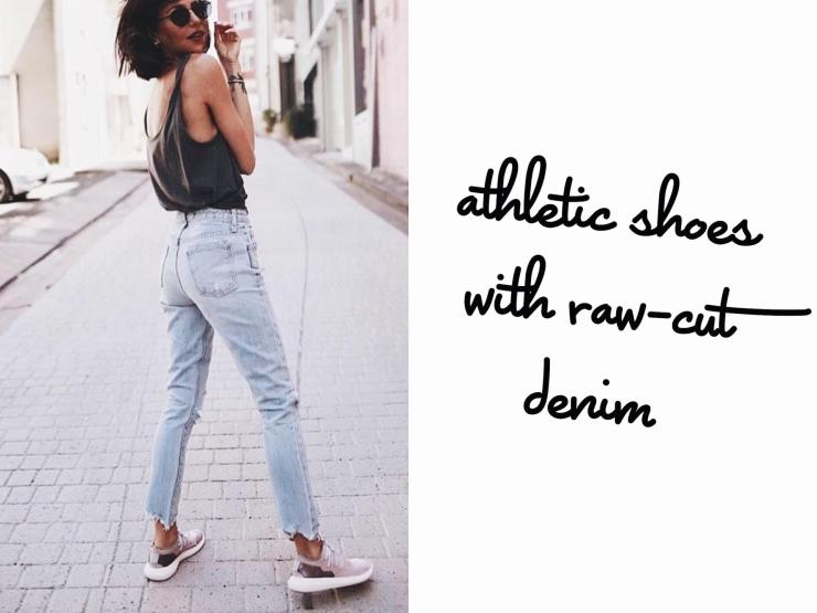 athletic shoes with denim