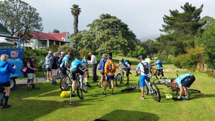 ABC bike and hike challenge - The bikers prepare to head out for their first day.