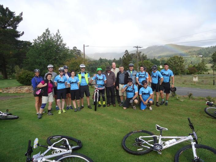 ABC bike and hike challenge - The bike team takes a group photo before they head off.