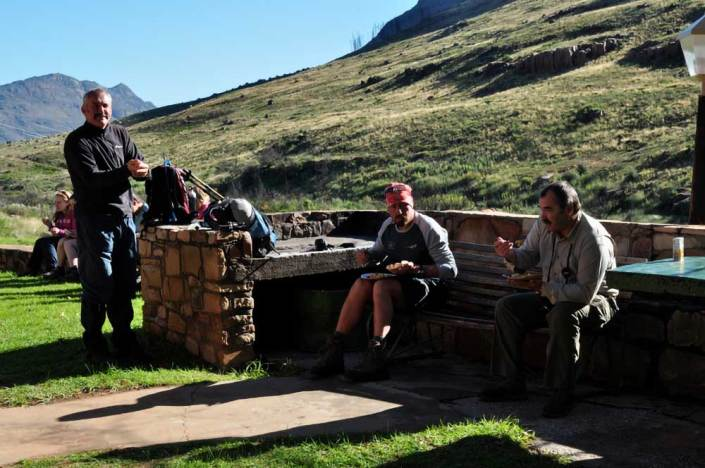 ABC bike and hike challenge - Bikers and hikers enjoy their dinner outdoors.