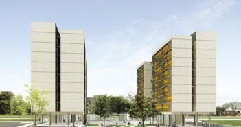 1º Lugar no concurso CODHAB-DF para edifícios de uso misto em Santa Maria. Imagem: Estúdio Gamboa de Arquitetura
