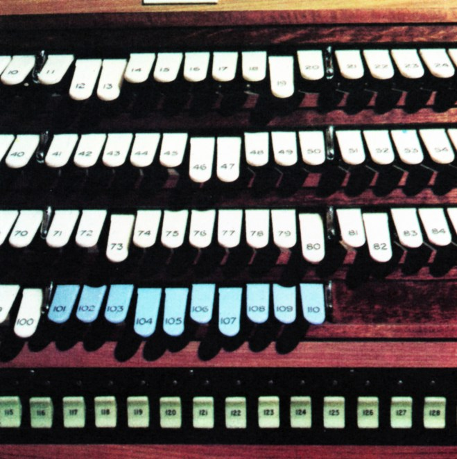 Organ keys on a lighting console. Each operates the on-off switch of one of the many power points above the grid and on studio floor level.