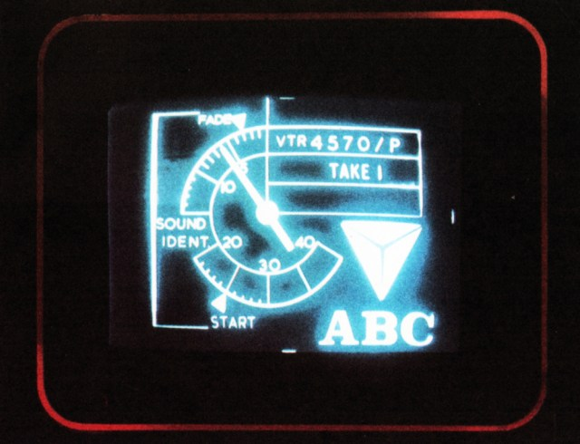 The VTR clock; an unseen part of every recorded programme. ABC engineers designed this novel clocking device - since adopted by other production companies - for identifying and cueing the leader on video tape recordings. The red surround shows that the pre-view monitor in use here holds the picture being transmitted.