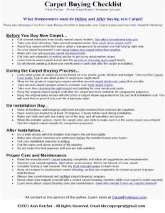 Carpet Professor's Carpet Buying/Installation Checklist