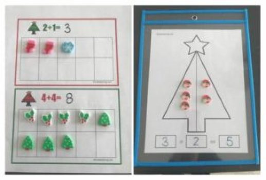 Math manipulative mini-eraser worksheets