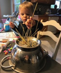 pasta straining fine motor activity