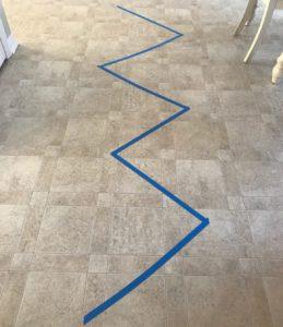 zig-zag painters tape line