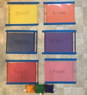 sight word color throwing activity indoor